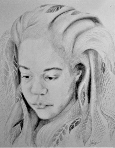Rêverie. 28x35 cm. Crayon graphite sur papier. 2017.